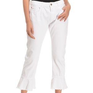 Zara  Frill Ruffle Hem Cropped Jeans